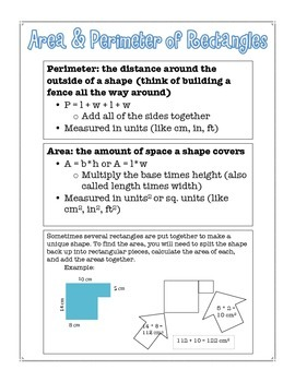 Area and Perimeter of Rectangles Reference Sheet {FREEBIE}