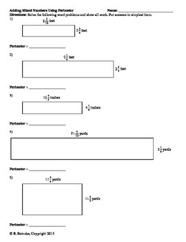 Area and Perimeter with Mixed Numbers Worksheets