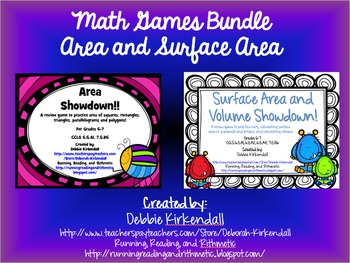 Area and Surface Area Showdown Bundle