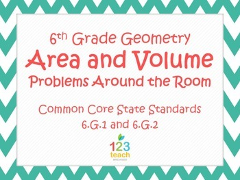 Area and Volume Task Cards Activity for Common Core 6.G.1