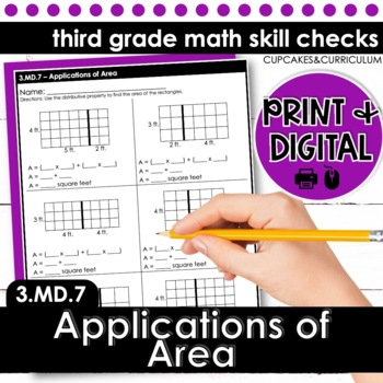 Area by Tiling; Area of Odd Shapes - Third Grade Print and Go