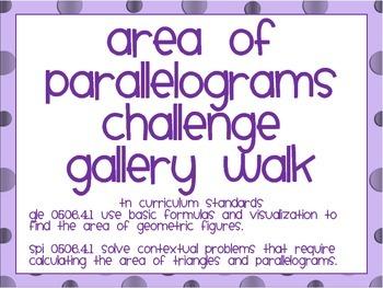 Area of Parallelogram Gallery Walk (Challenge)