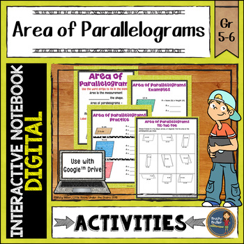 Area of Parallelograms Digital Interactive Notebook Google Drive