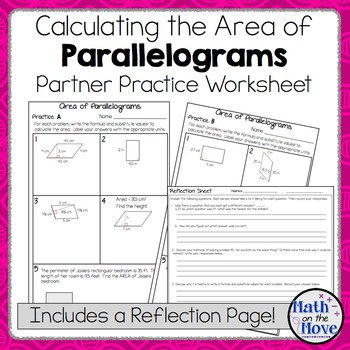 Area of Parallelograms - Partner Practice Worksheet (with