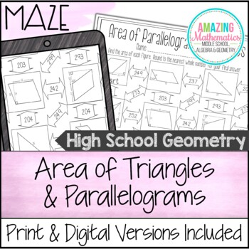 Area of Parallelograms & Triangles Maze