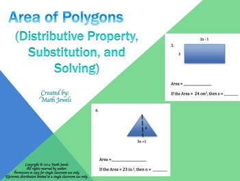 Area of Polygons (Distributive Property, Substitution, and