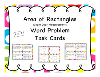 Area of Rectangles - Single Digits - Differentiated Word P