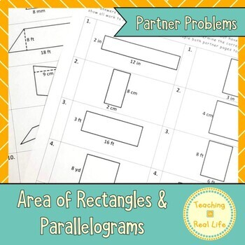 Area of Rectangles/Parallelograms Partner Page