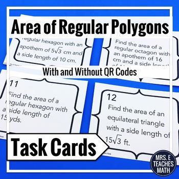 Area of Regular Polygons Task Cards