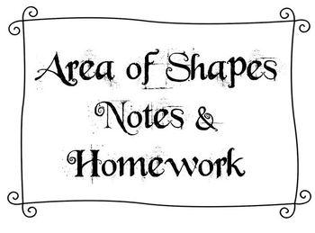 Area of Shapes Homework
