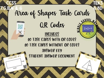 Area of Shapes Task Cards QR Codes