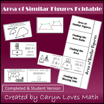 Area of Similar Figures~Foldable~Geometry~Finding the Area