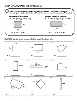 Area of Squares & Rectangles