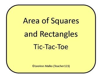 Area of Squares and Rectangles Tic-Tac-Toe