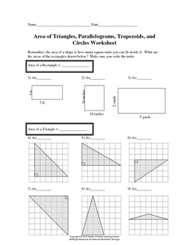 Area of Triangles, Parallelograms, Trapezoids, and Circles