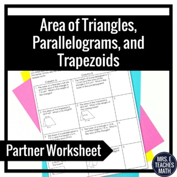 Area of Triangles, Parallelograms, and Trapezoids Partner
