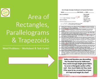 Area of Triangles, Rectangles, Trapezoids and Parallgrms W