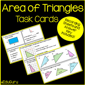 Area of Triangles Task Cards