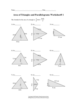 Area of Triangles and Parallelograms Worksheet# 1