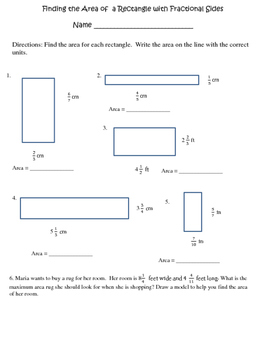 Area of a Rectangle with Fractional Sides