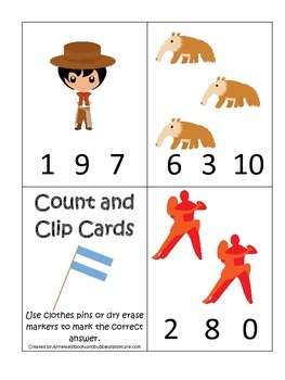 Argentina themed Count and Clip preschool math cards.  Day