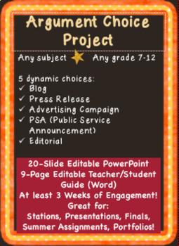 Argument Choice Project: Editorial, Press Release, PSA, Po