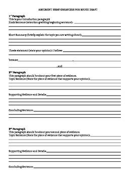 Argument Essay Graphic Organizer Rough Draft with Sentence Frames