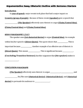 Argument Essay (Rhetoric) Outline