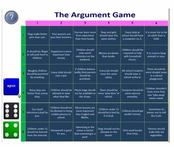 Argument Game (Practise persuasive / exposition / debating