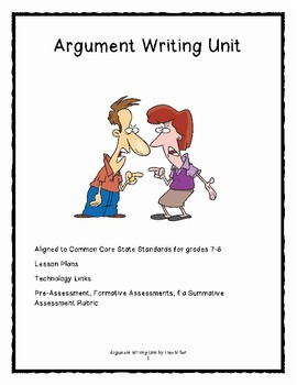 Argument  Paragraph Writing aligned to the CCSS