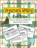 Argument Writing Exit Slips