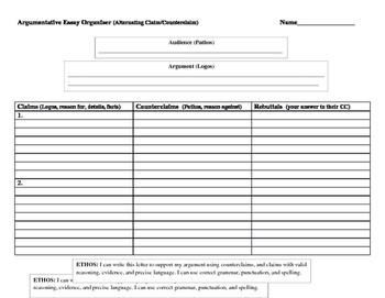 Argumentative Essay Alternative Graphic Organizer for Planning