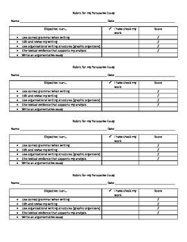 Argumentative Essay Checklist