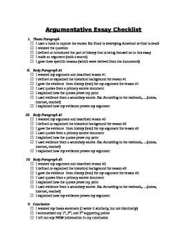 Argumentative Essay Checklist for Students