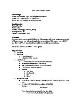 Argumentative Essay Packet