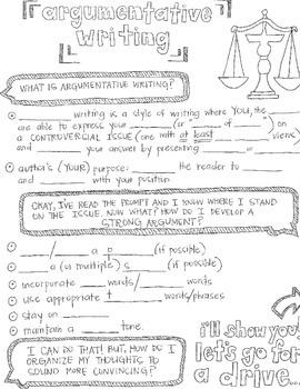 Argumentative Writing CLOZE Graphic Organizer Notes