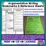 Argumentative Writing Response Bookmarks and EDITABLE Refe