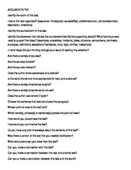 Argumentative text questions