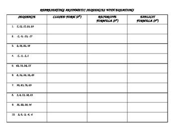 Arithmetic Sequences, Closed, Recursive, Explicit