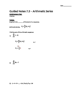 Arithmetic Series - Notes
