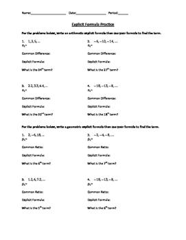 Arithmetic and Geometric Explicit Formula Practice Worksheet