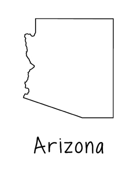 Arizona Map Coloring Page Activity - Lots of Room for Note