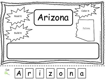 Arizona Read it, Build it, Color it Learn the States presc