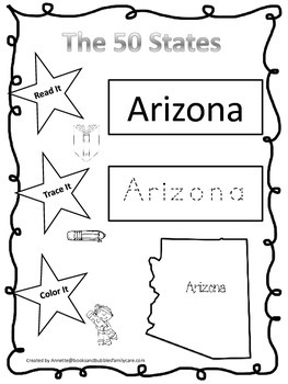 Arizona Read it, Trace it, Color it single Learn the State