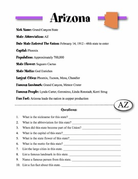 Arizona State Information & Worksheet