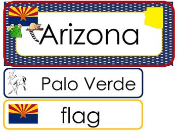 Arizona State Word Wall Bulletin Board Set. Geography Curriculum.
