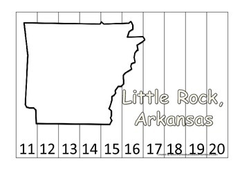 Arkansas State Capitol Number Sequence Puzzle 11-20.  Geog