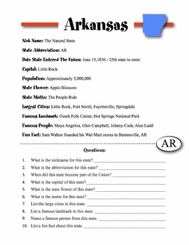 Arkansas State Information & Worksheet