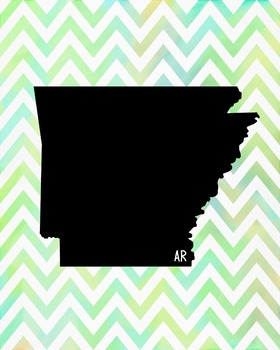 Arkansas Chevron State Map Class Decor, Government, Geography
