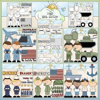 Armed Forces Clip Art Bundle - Military - 5 Clip Art & B&W Sets